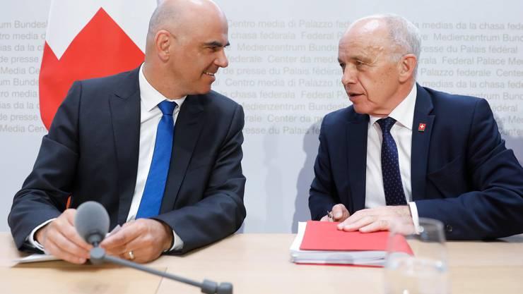 Die Bundesräte Berset und Maurer nahmen am virtuellen Treffen teil.