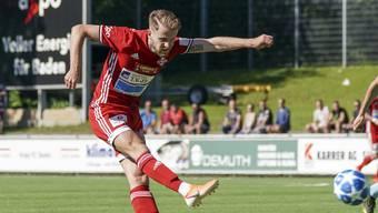 Auswärts treffsicher wie eh und je: Christopher Teichmann erzielt beim 2:2 gegen den SC Goldau den ersten Treffer für den FC Baden.