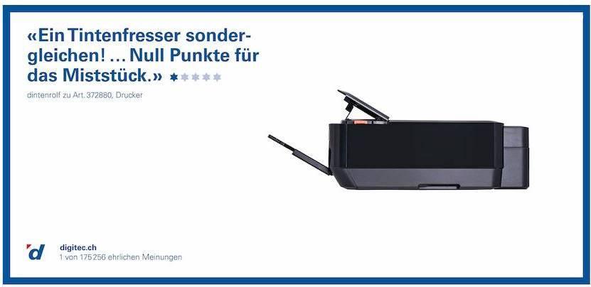 Wer einen Drucker als Miststück bezeichnet, wird wahrhaftig nicht zufrieden sein damit (Bild: Digitec)
