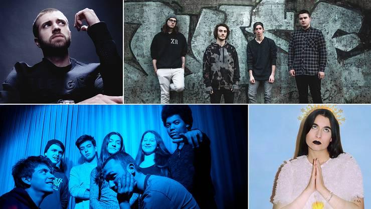 Im Rennen: Rapper Doc the One, die Baselbieter Bands Keine Helden (oben) und Project 7 (unten) sowie die Solomusikerin Schoolfriend.
