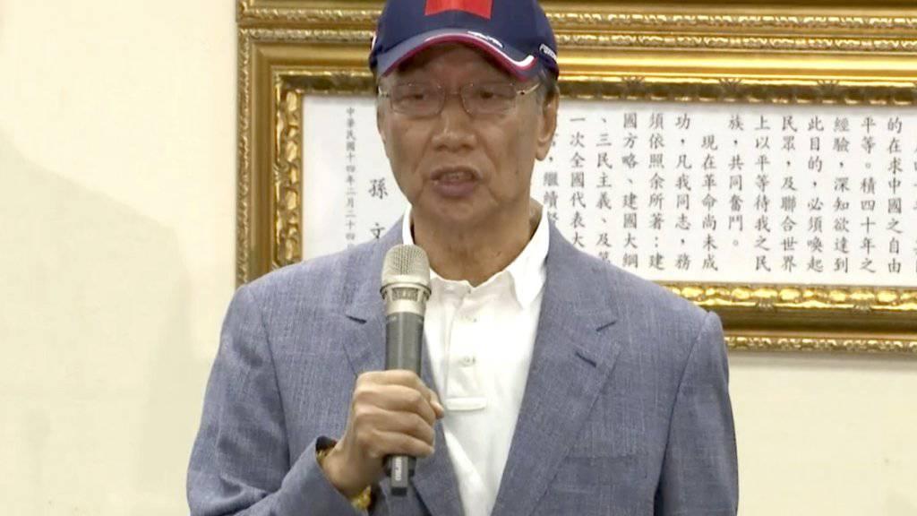 Terry Gou kündigt am Mittwoch in Taipeh seine Kandidatur für die Präsidentschaft an.