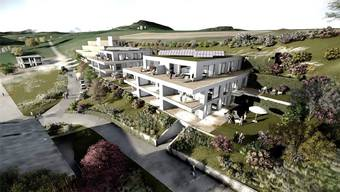 Die Visualisierung zeigt die beiden geplanten Mehrfamilienhäuser in Bözen.