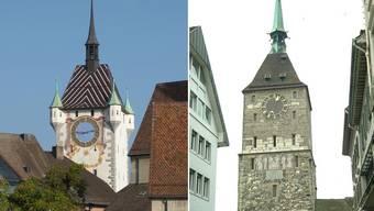 Beim Badener Stadtturm beträgt die Lagedifferenz rund 93 cm, der Obertor in Aarau wird durch die neuen Koordianten um 74 cm «verschoben».