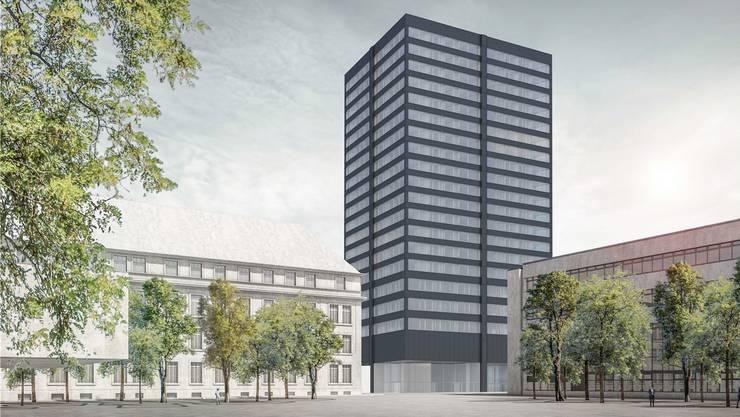Schwarzer Turm: So könnte das neue Hochhaus von der Haselstrasse her aussehen. (Visualisierung: HRS Real Estate)