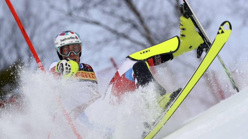 Switzerland's Daniel Yule falls during the men's slalom, at the alpine ski World Championships in Are, Sweden, Sunday, Feb. 17, 2019. (AP Photo/Alessandro Trovati)