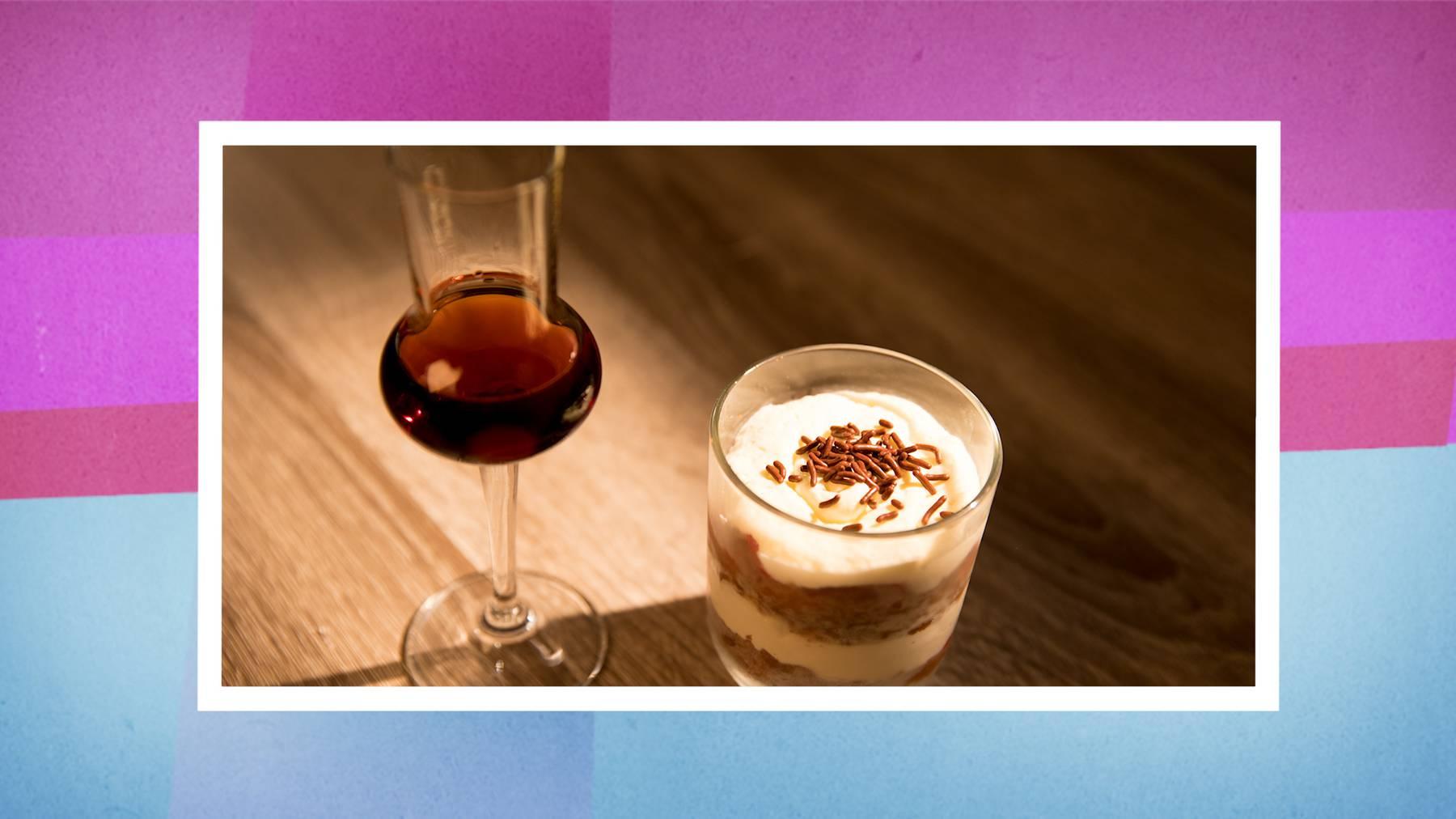 Das Dessert: Schwarzwälder im Glas mit Orangenfilet-Garnitur