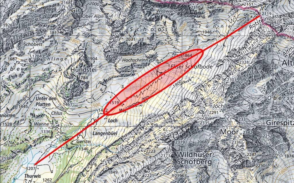 Zerstörte Materialseilbahn am Rotsteinpass