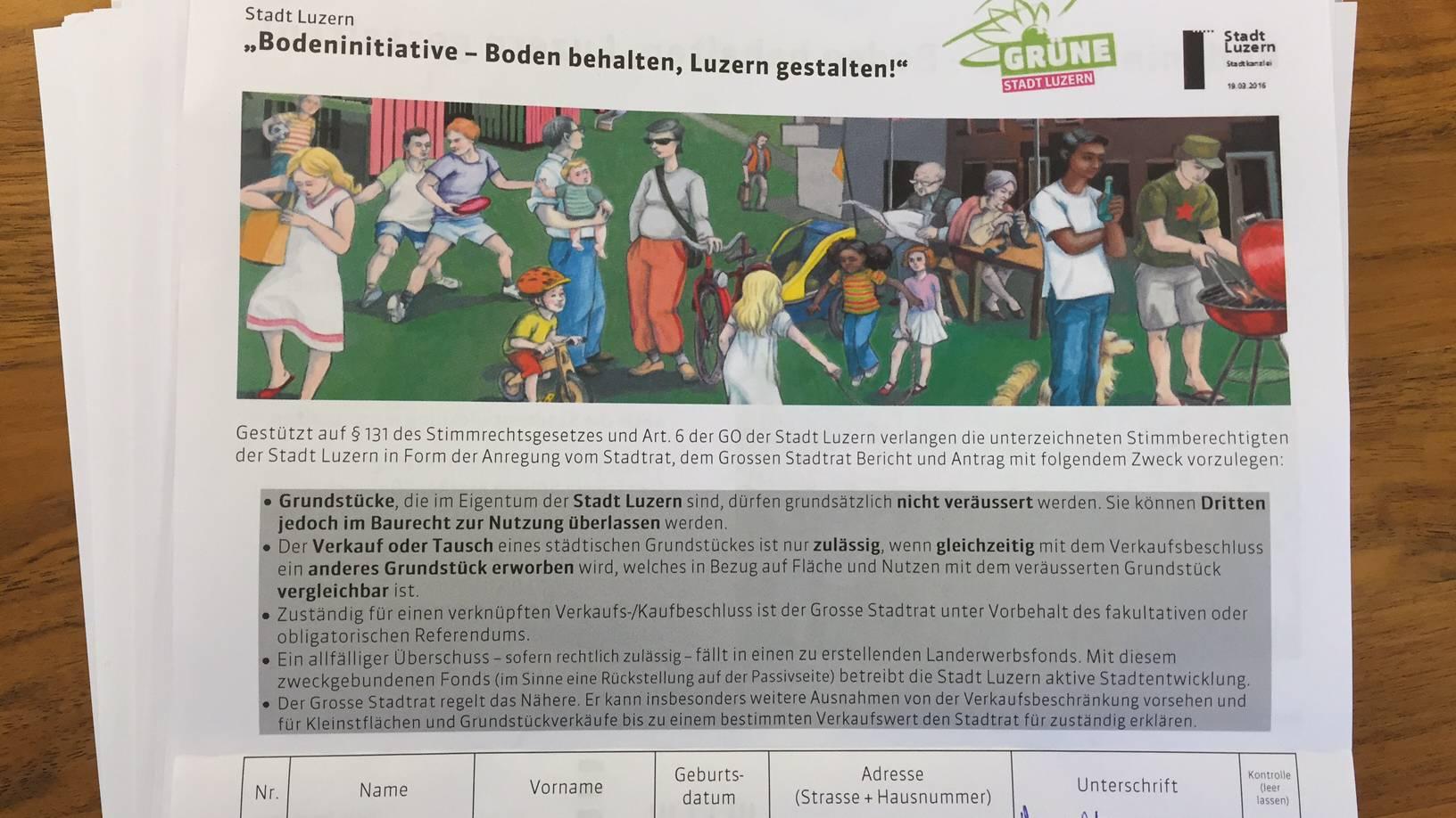 Luzern: Bodeninitiative ist zustande gekommen