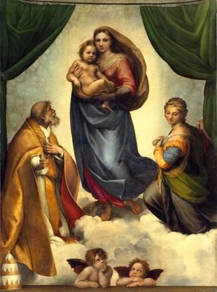 Kompositorisch ein Wurf: Die «Sixtinische Madonna» von 1512/13 verbindet Himmlisches und Irdisches. Es wurde für die Sixtus und Barbara geweihte Kirche in Piacenza geschaffen. Eine Solo-Weltkarriere schafften die beiden Engelchen.