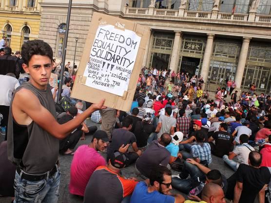 Ein Flüchtling in Budapest verlangt Freiheit, Gleichheit und Solidarität. Hunderte Schweizer zeigen nun Solidarität und verlangen vom Bundesrat, dass er bei der ungarischen Regierung interveniert.