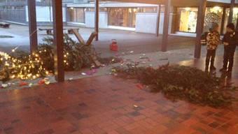 Unbekannte haben den Weihnachtsbaum der Roberstenschule demoliert.