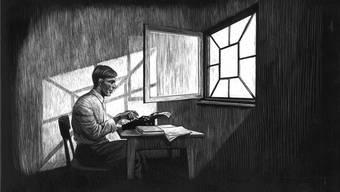Sechseinhalb Jahre verbrachte Friedrich Glauser in der Psychiatrie. Hier hatte er oft seine kreativsten Schreibphasen. Illustration Hannes Binder