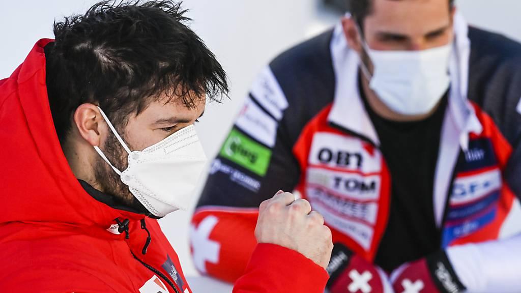 Zufrieden mit ihrem Rennen: Michael Vogt (li.) und sein Anschieber Sandro Michel