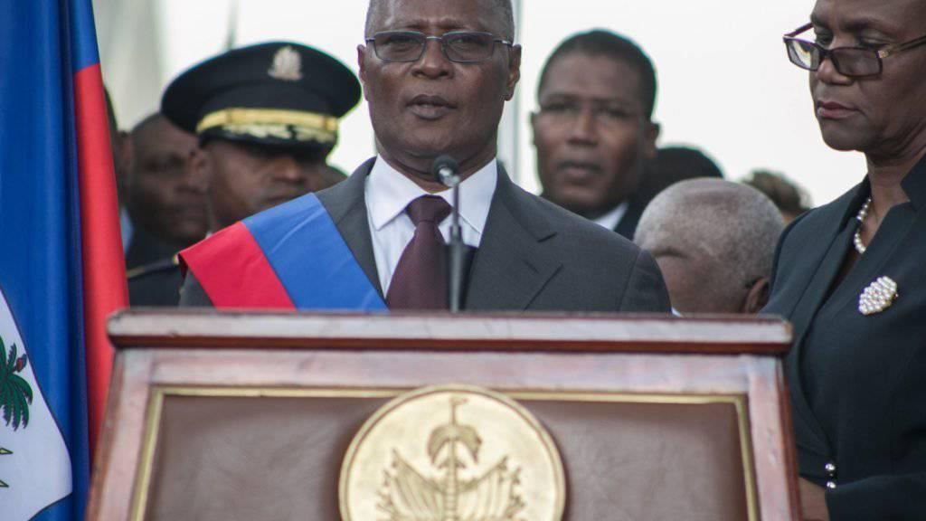 """""""Nationale Harmonie erreichen"""": Haitis Interimspräsident Jocelerme Privert bei seiner ersten Rede in Port-au-Prince."""