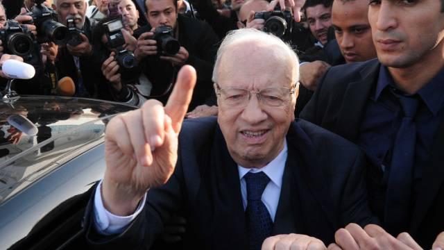 Béji Caïd Essebsi nach der Stimmabgabe