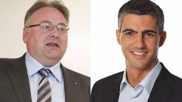 GLP-Fraktionschef von Planta (r.) unterstüzt FDP-Kandidat Camin.