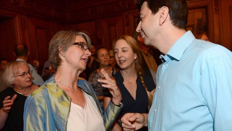 Waren jüngst trotz Interessenbindungen aktiv im Parlament: Martina Bernasconi  (FDP, links) und GLPler David Wüest-Rudin.