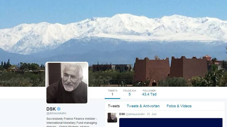 Printscreen Twitter-Account von Dominique Strauss-Kahn