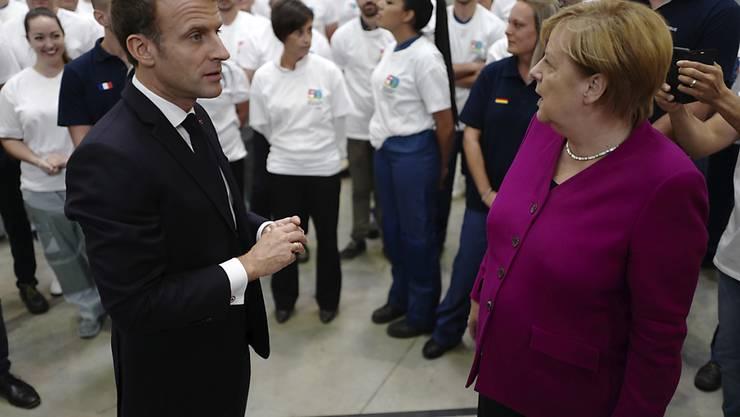 Emmanuel Macron und Angela Merkel am Mittwoch zu Besuch bei Airbus in Toulouse.
