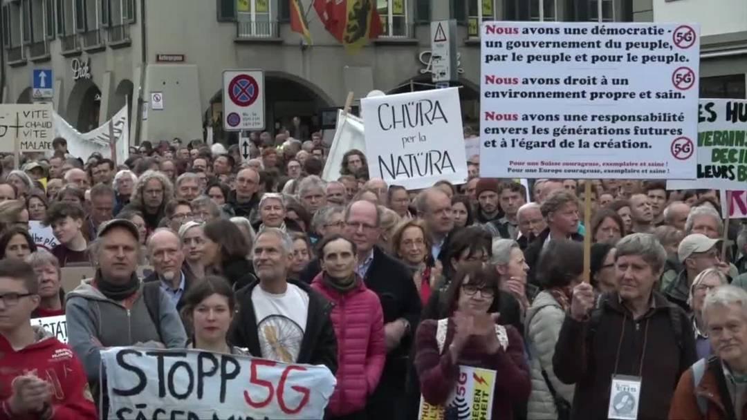 Protest gegen 5G-Mobilfunk in Bern