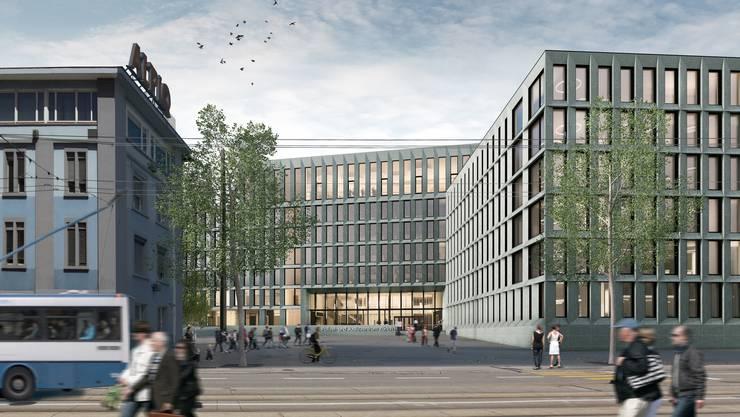 Haupteingang des geplanten Polizei- und Justizztentrums (PJZ) im Stadtzürcher Kreis 4.