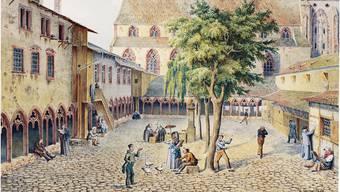 Der Kreuzgang des ehemaligen Barfüsserklosters diente als Almosen für geistig Behinderte.