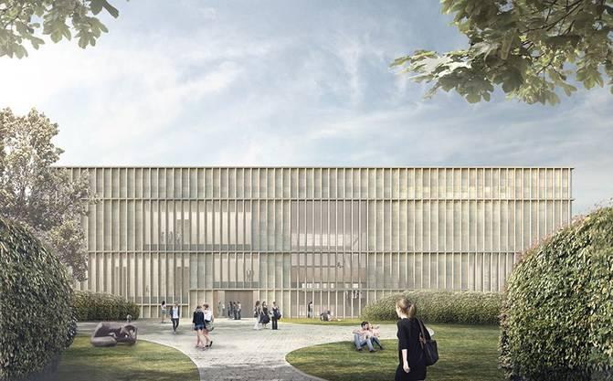 Blick vom Skulpturenpark zum Kunsthaus-Erweiterungsbau