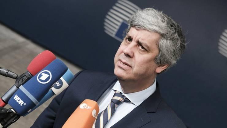 Eurogruppen-Chef Mario Centeno in Brüssel. Der Portugiese ist davon überzeugt, dass Griechenland die restlichen Verpflichtungen erfüllen wird, um das Hilfsprogramm erfolgreich verlassen zu können.