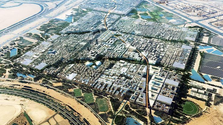 Masdar City in den Vereinigten Arabischen Emiraten wurde zwar gebaut, gilt aber als Geisterstadt.