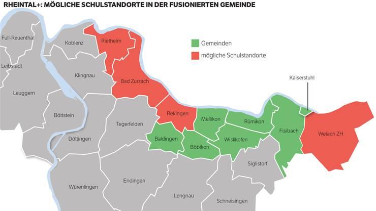 Projekt Rheintal+: Das sind die möglichen Schulstandorte in der Fusionsgemeinde