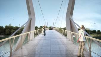 Der geplante Rheinsteg ist 200 Meter lang und verbindet die beiden Rheinfelden auf Schweizer und deutscher Seite.