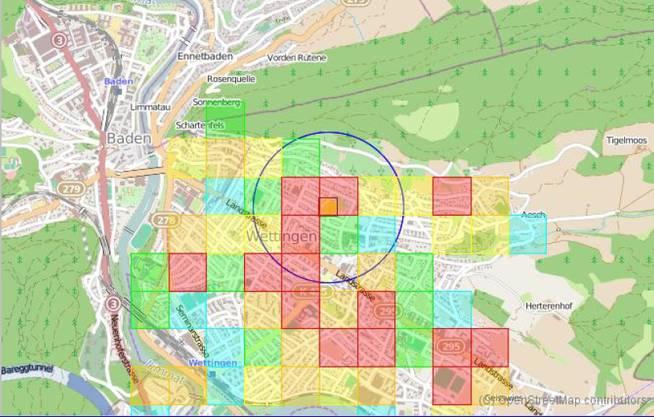 So sieht eine Precobs-Karte aus: Beispiel Wettingen.