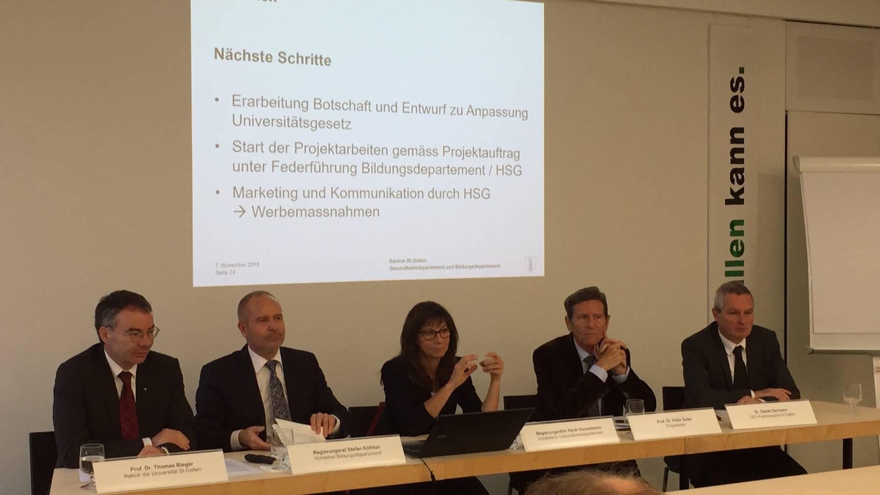 Die Regierung präsentiert zusammen mit der HSG und dem Kantonsspital St.Gallen das Projekt «Joint Medical Master»