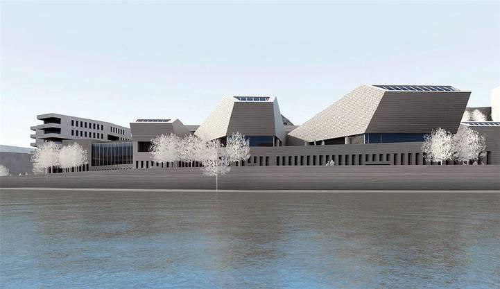 Visualisierung der Bäderprojekte in Baden mit Architekt Mario Botta. zvg