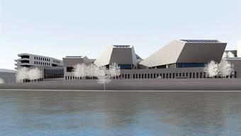 Visualisierung der Bäderprojekte in Baden mit Architekt Mario Botta.
