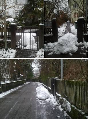 Schneeräumung hinterlässt unfertigen Schneemann vor der Haustür