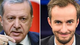 Der türkische Präsident Erdogan (links) ist wegen Majestätsbeleidigung gegen den deutschen Satiriker Böhmermann (rechts) vorgegangen. Auch in der Schweiz gibt es einen solchen Straftatbestand. Dieser soll nun abgeschafft werden. (Archivbild)