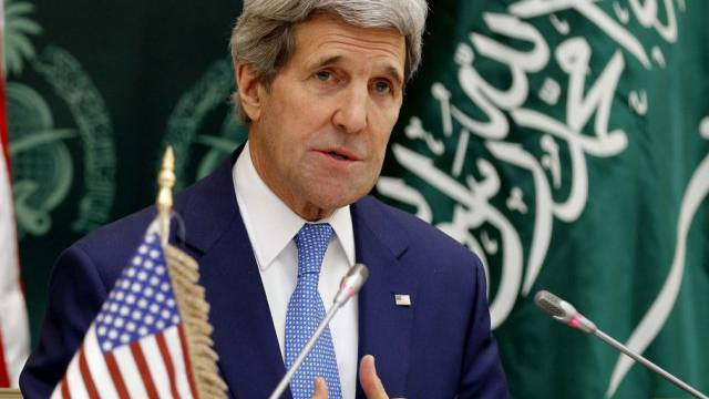 Kerry an Pressekonferenz in Riad