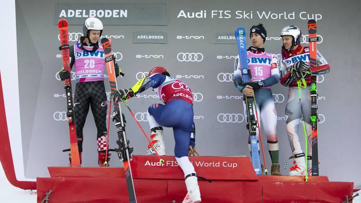 Das Podest in Adelboden (von links): Filip Zubcic (Zweiter), Zan Kranjec (Erster), Victor-Muffat-Jeandet und Henrik Kristoffersen (beide Dritte).