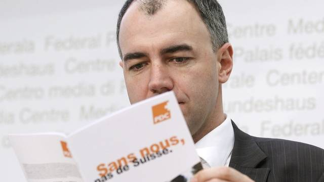CVP-Präsident Christophe Darbellay an der Medienkonferenz