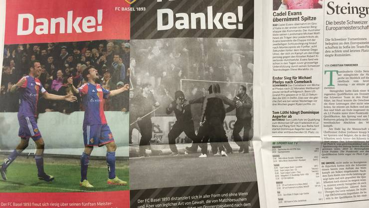 FCB-Inserat in der «Schweiz am Sonntag» gegen FCB-Chaoten.