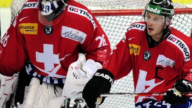 Goalie Martin Gerber und Verteidiger Mark Streit