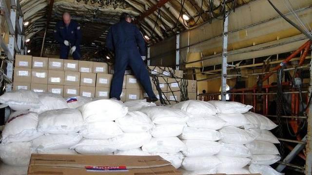 Russischer Hilfstransport im nordsyrischen Hafen von Latakia
