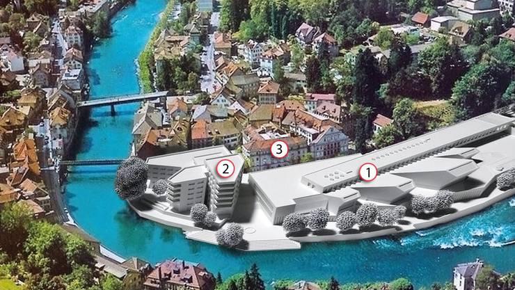 Die beiden baureifen Baufelder Thermalbad (1), Ärztehaus mit Wohnen (2) sowie das Verenahof-Geviert (3).