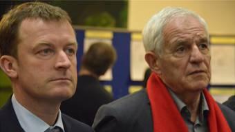 Wahlsieger Josha Frey schlug den Inhaber des Direktmandats Ulrich Lusche der CDU (links) um 6,5 Prozent. Ganz rechts Justizminister Rainer Stickelberger (SPD), sichtlich unglücklich über das Wahlergebnis.