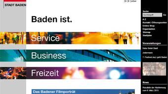So sieht die Website der Stadt Baden derzeit aus – sie soll erneuert werden.