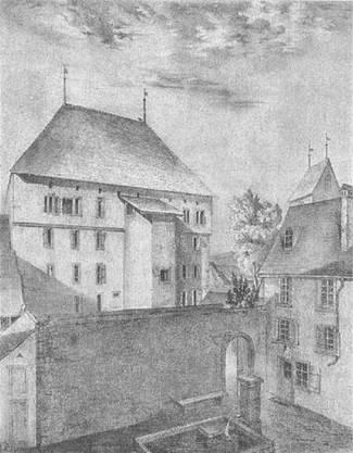 Der alte Effingerhof 1864 vor dem Abriss.