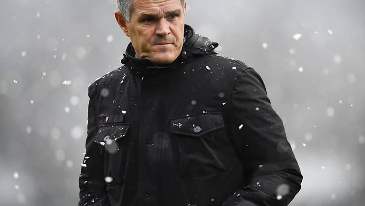 GC-Trainer Pierluigi Tami sieht im Schneetreiben von Vaduz viel Positives