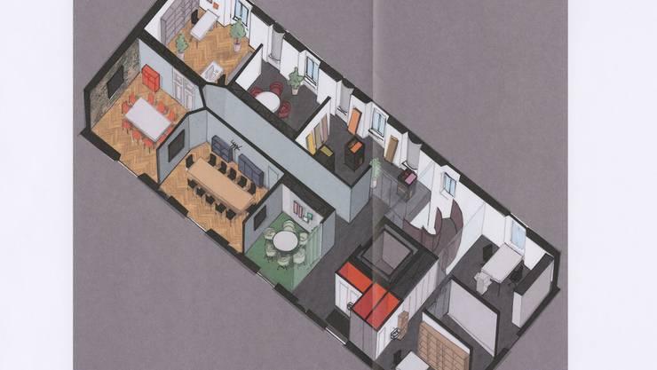Pläne der Co-Working-Plätze im Uferbau