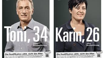 Plakatkampagne: Toni mit 34 Jahren Berufserfahrung, Karin mit 26